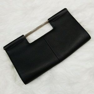 The Limited black leather clutch